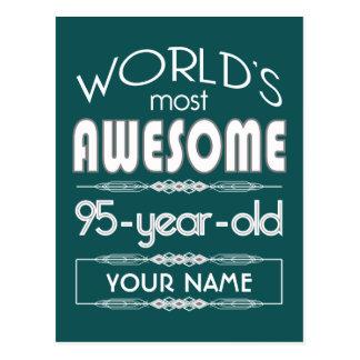 95th Birthday Worlds Best Fabulous Dark Green Fore Postcard