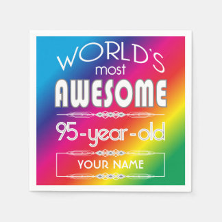 95th Birthday Worlds Best Fabulous Rainbow Paper Serviettes