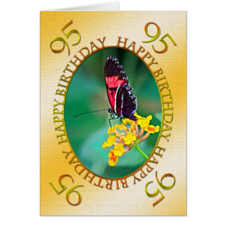 95th Butterfly and flower birthday card