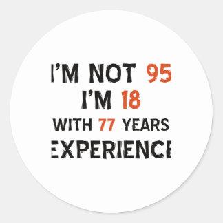 95th cool birthday designs round sticker