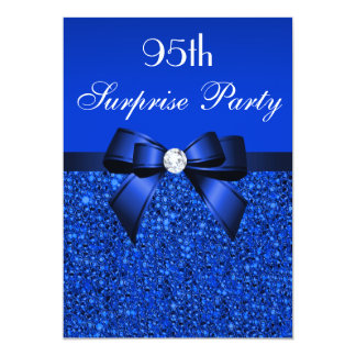 95th Surprise Party Royal Blue Sequins and Bow 13 Cm X 18 Cm Invitation Card