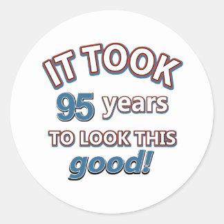 95th year birthday designs round sticker
