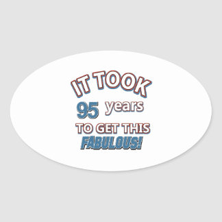 95th year birthday designs oval stickers