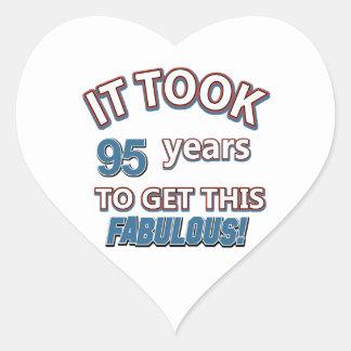 95th year birthday designs heart sticker