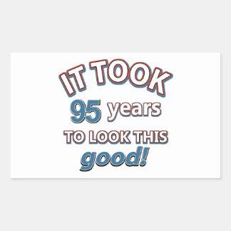 95th year birthday designs rectangular sticker