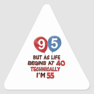 95th year birthday designs triangle sticker