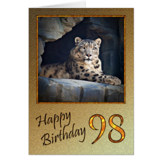 98th Birthday Card with a snow leopard