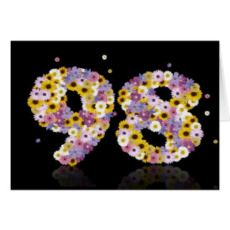 98th birthday card with flowery letters
