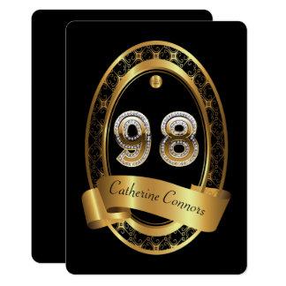 98th,birthday party woman man,elegant color card
