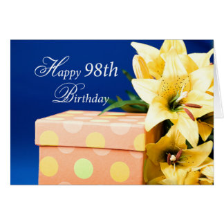 98th, Birthday, present, gift, blue package, lilie Card