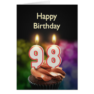 98th Birthday with cake and candles Card