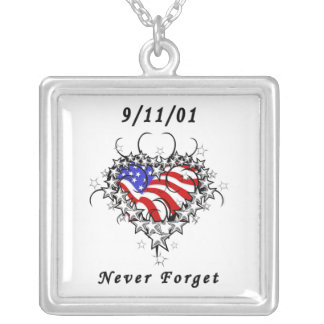 9/11/01 Patriotic Tattoo Silver Plated Necklace