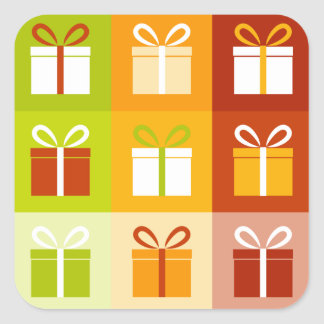 9 gift boxes square sticker
