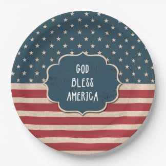 """9"""" Vintage Style 4th of July Party Paper Plates"""