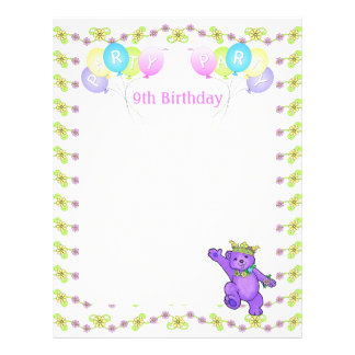 9th Birthday Princess Bear Party Scrapbook Paper 1 21.5 Cm X 28 Cm Flyer