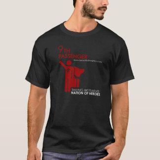 9th Passenger Hero Initiative, red&white on black T-Shirt