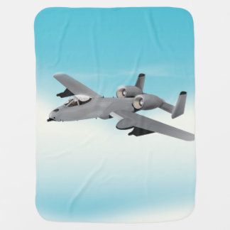 A10 Military Plane Illustration Baby Blanket
