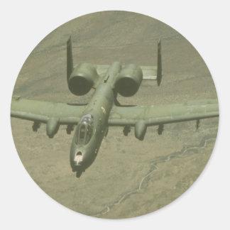 A-10 Warthog anti-tank aircraft, aerial shot Classic Round Sticker