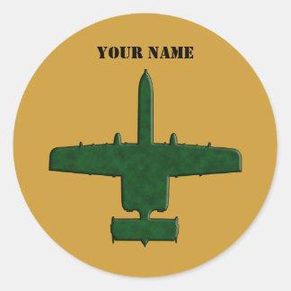 A-10 Warthog Silhouette Green Camo Airplane Classic Round Sticker