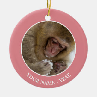 A baby Japanese Macaque (or snow monkey) Christmas Ornament