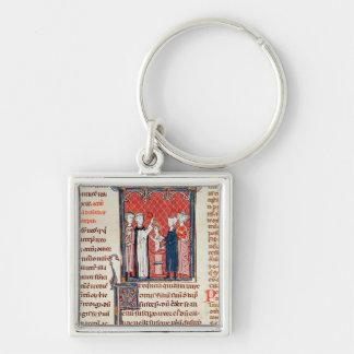 A Baptism Scene, from 'Decrets de Gratien' Silver-Colored Square Key Ring