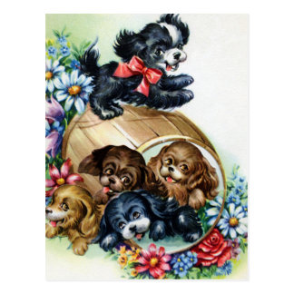 A Barrel of Puppies Postcard
