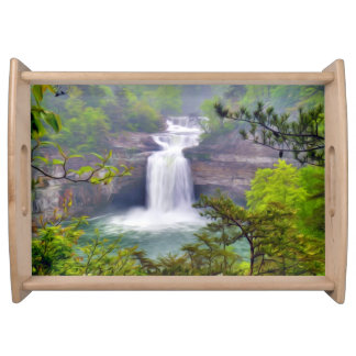 A Beautiful Waterfall In The Deep Forests Of North Serving Platters