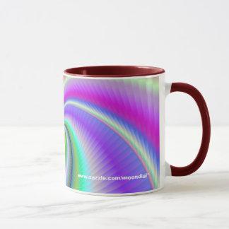 A beautifully coloured mug with a fractal theme