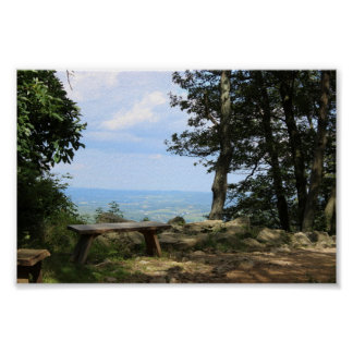 A Bench with a View of Hawk Mountain Poster
