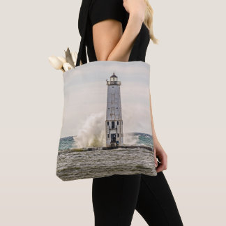A Big Wave Crashes into the Frankfort Light Tote Bag