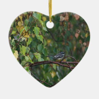 a bird in the bush ceramic heart decoration