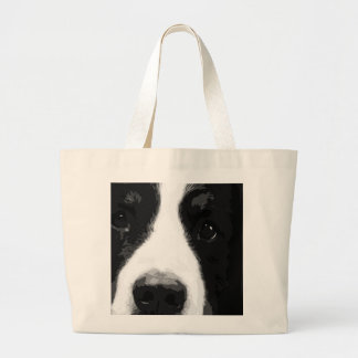 A black and white Bernese mountain dog Large Tote Bag