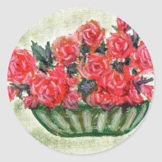 A Bowl of Roses Round Stickers
