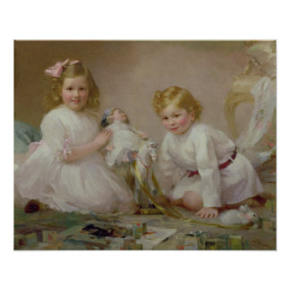 A Brother and Sister Playing, 1915 Print