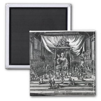A Buddhist Temple, an illustration Square Magnet