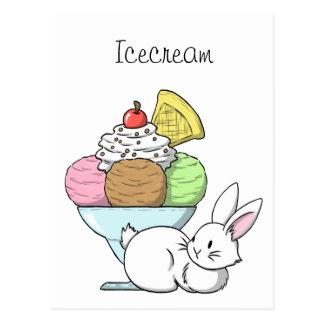 A bunny and an ice cream postcard