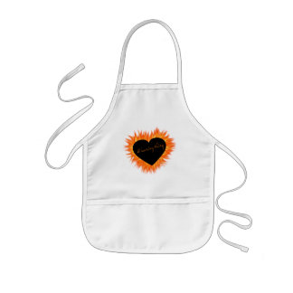 A Burning Thing Fire Heart Kids Apron