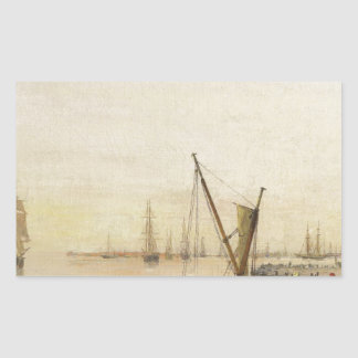 A busy harbour by Konstantinos Volanakis Rectangular Sticker