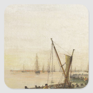 A busy harbour by Konstantinos Volanakis Square Sticker