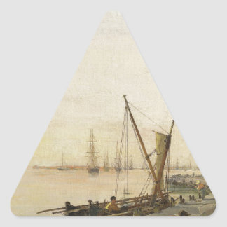 A busy harbour by Konstantinos Volanakis Triangle Sticker