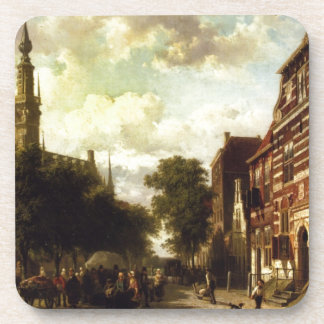 A Busy Market in Veere with the Clocktower of the Coaster