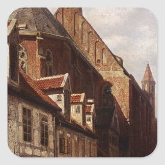 A Busy Street In Bremen With The Saint Johann Square Sticker