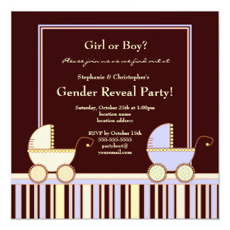 A Carriage for a Girl or Boy Gender Reveal Party Card
