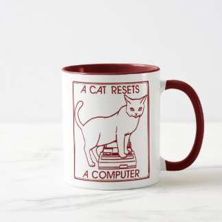 A cat resets a computer in Japan Mug