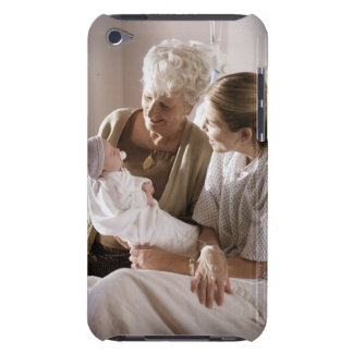 a caucasian mother shows her new baby to her own barely there iPod cover