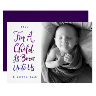 A Child Is Born Religious Photo Christmas Card