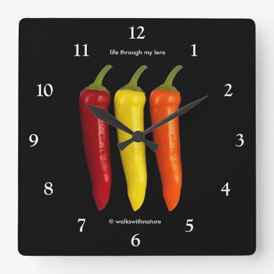 A Colourful Trio of Banana Peppers Square Wall Clock