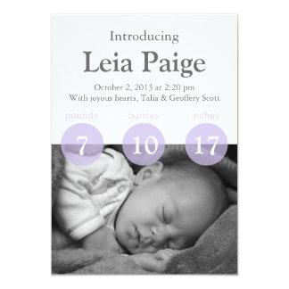 "A Customizable Lilac Baby Girl Announcement Card 5"" X 7"" Invitation Card"