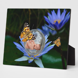 A cute baby lily butterfly bubble photo plaques