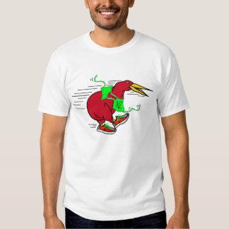 A cute cartoon Kiwi wearing running shoes NZ Shirts